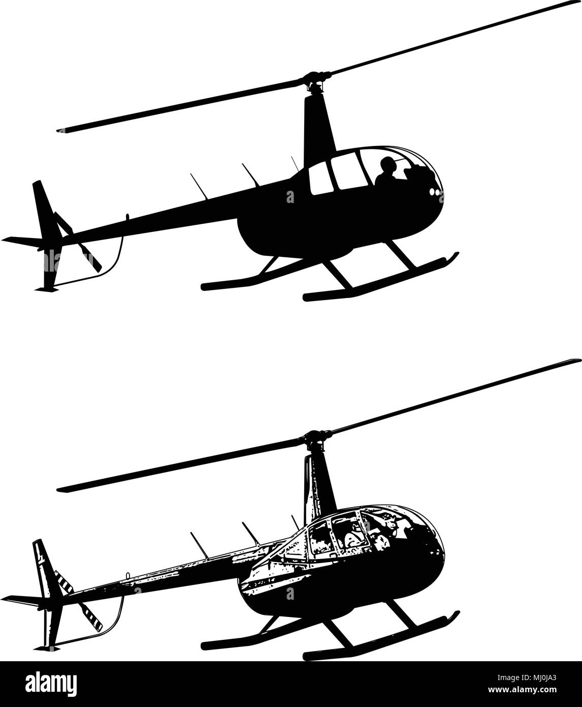helicopter silhouette and sketch - vector - Stock Vector