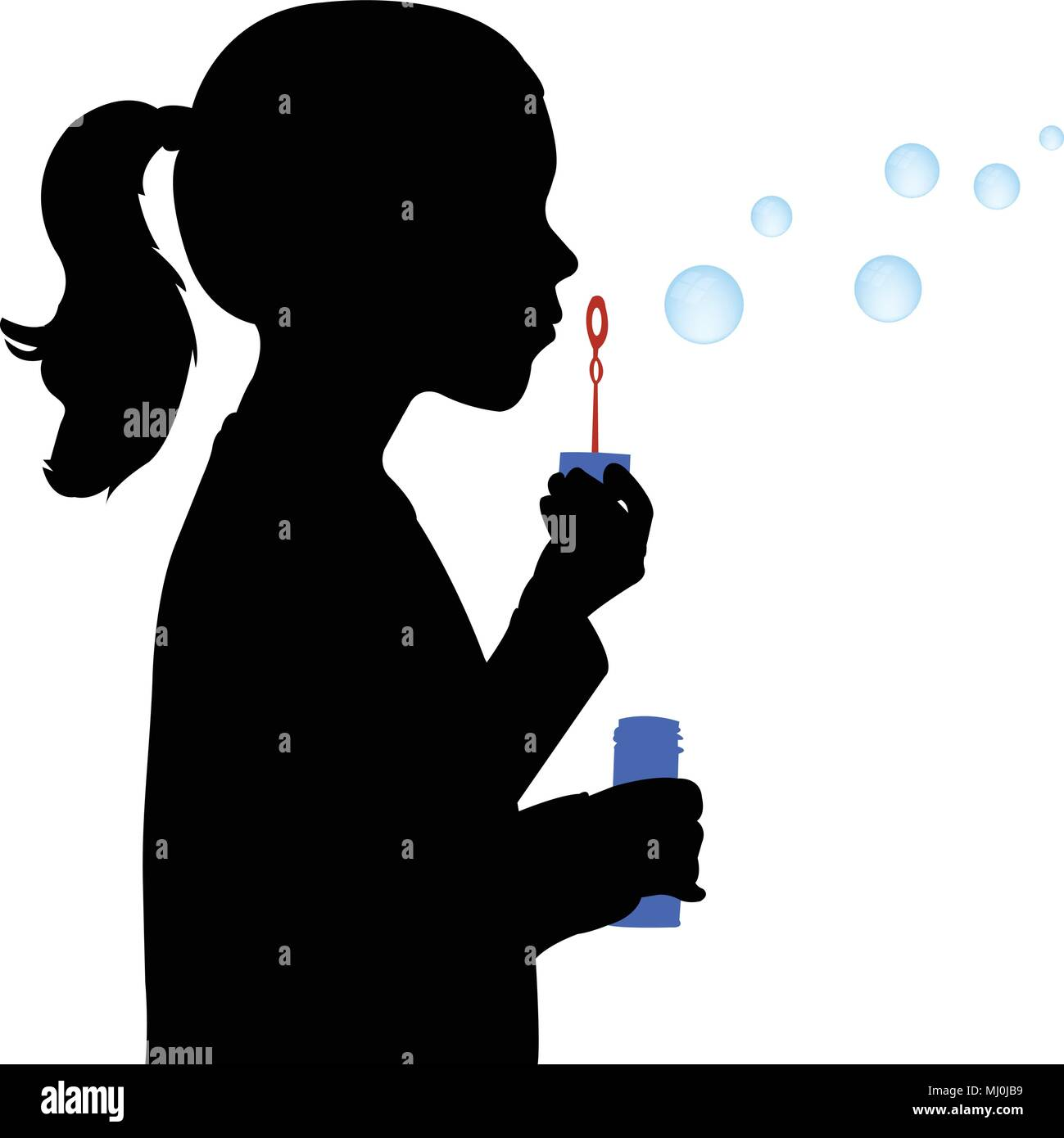 little girl blowing soap bubbles silhouette - vector - Stock Vector