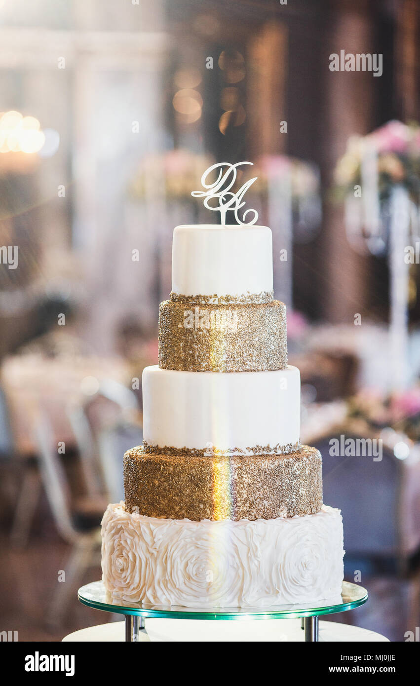 Beautiful Wedding Cake Close Up Of Cake And Blur Background