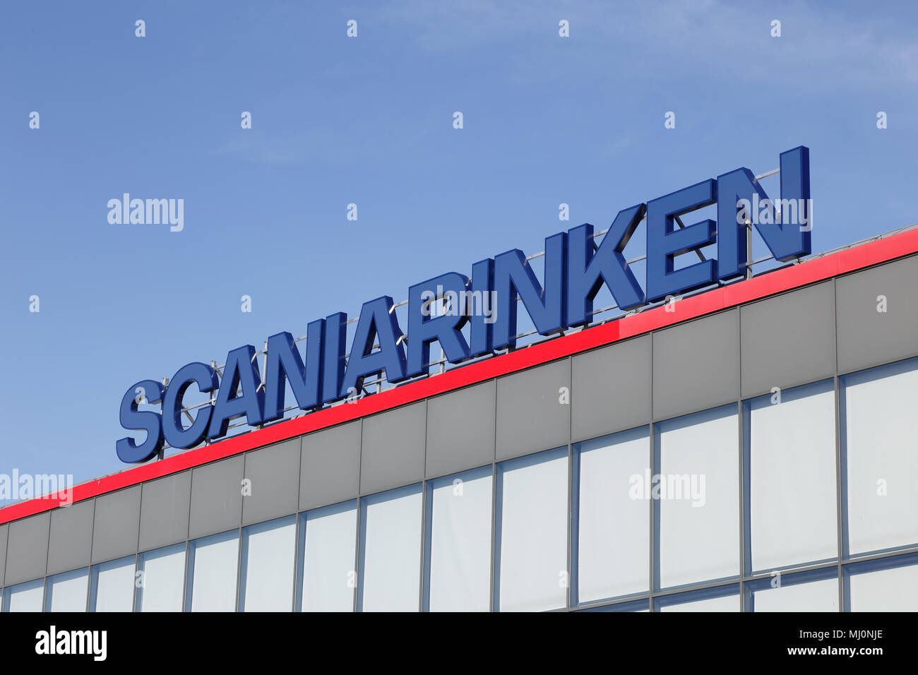 Sodertalje, Sweden - May 7, 2016: The sign on the ice hockey arena Scaniarinken. - Stock Image