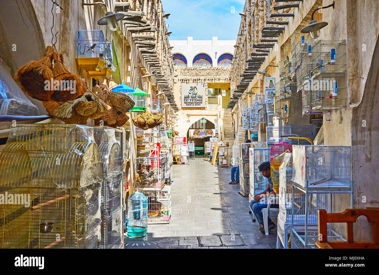 DOHA, QATAR - FEBRUARY 13, 2018: The stores in the narrow alley of