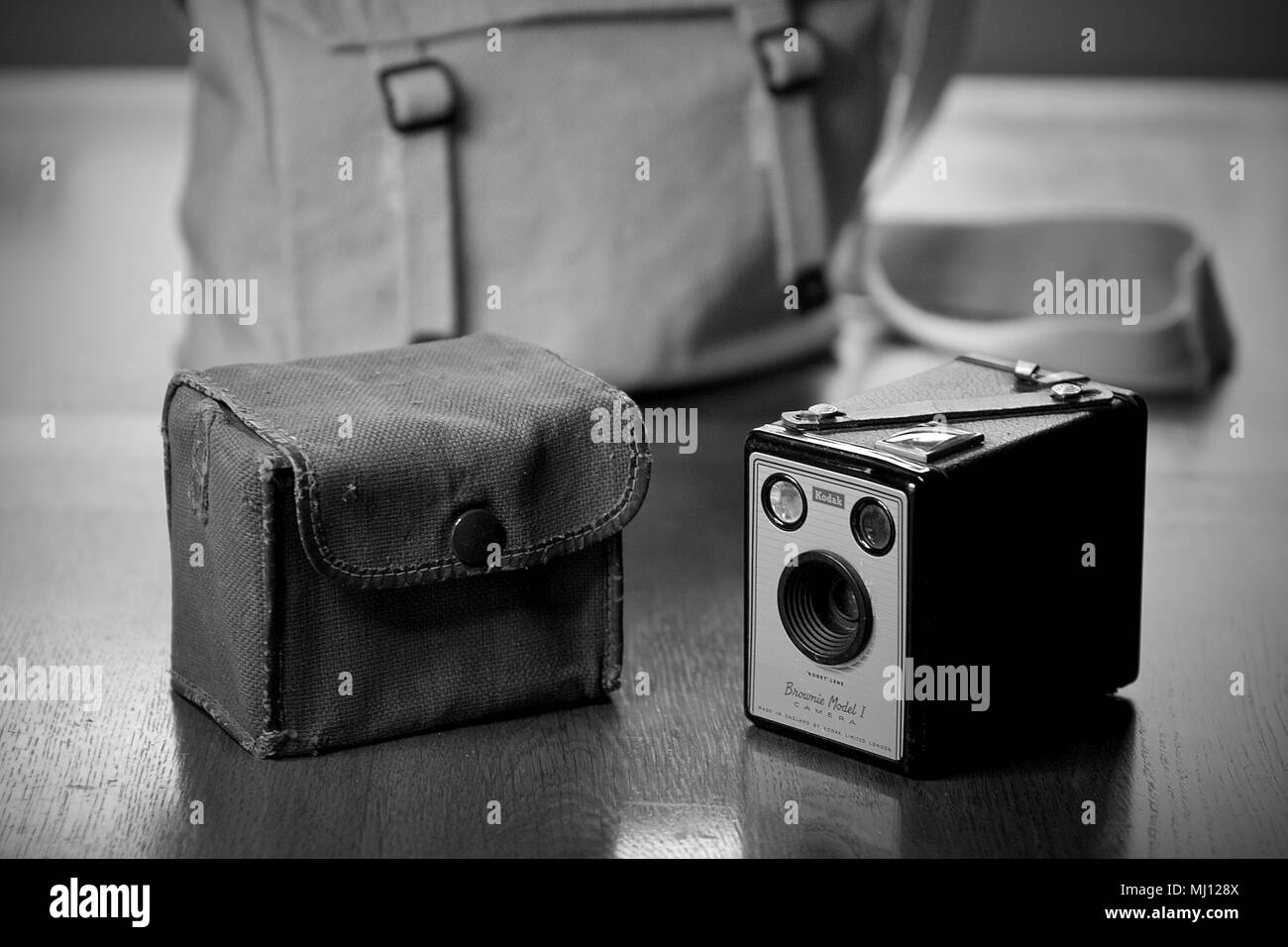 A Kodak Brownie Model 1 Camera and carry case. - Stock Image