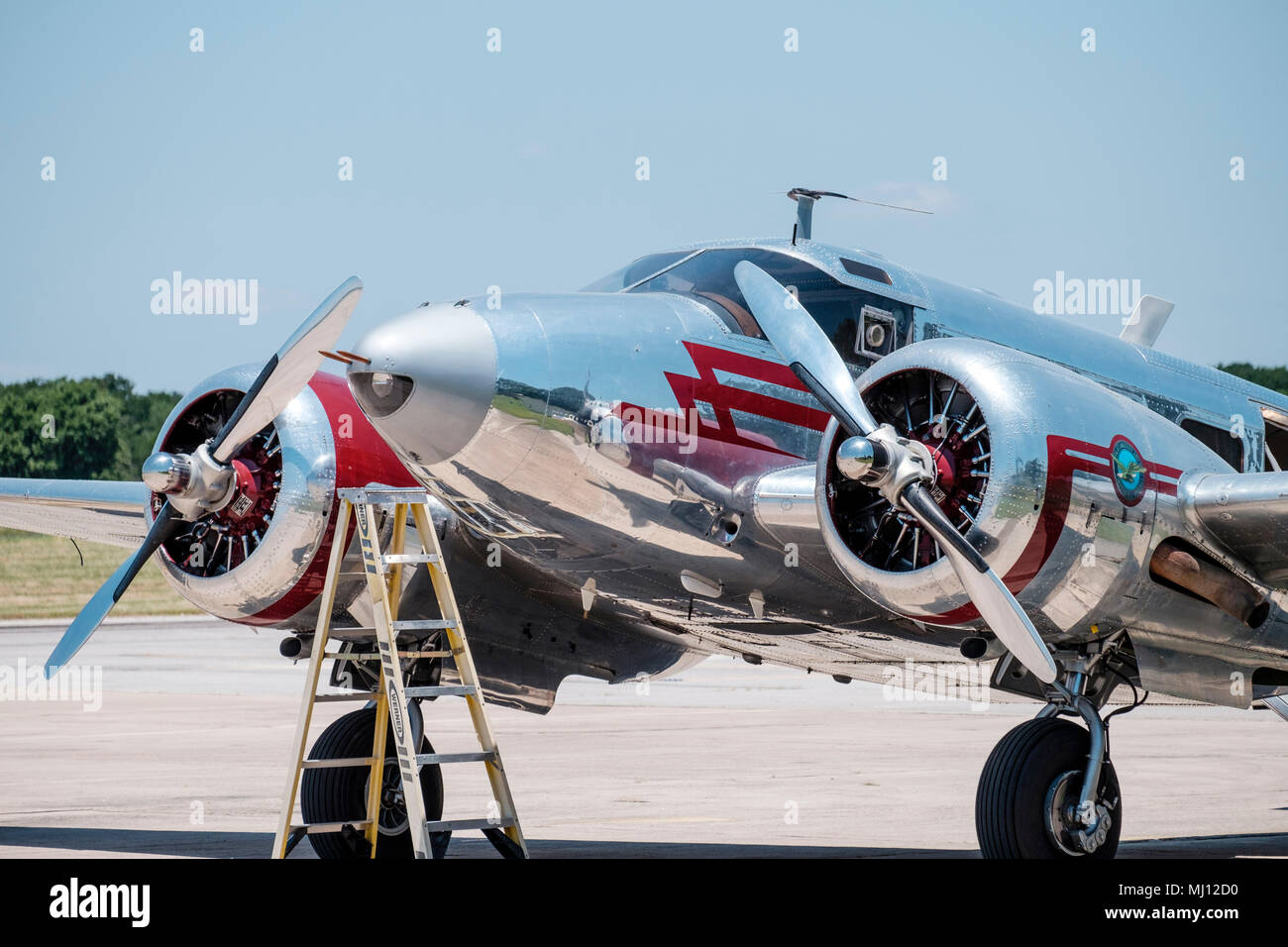 Beechcraft C-45H twin-engine aircraft. One verrsion of the Beech 18 or 'Twin-Beech' designed in the 1930s for military, civilian & commercial  use - Stock Image