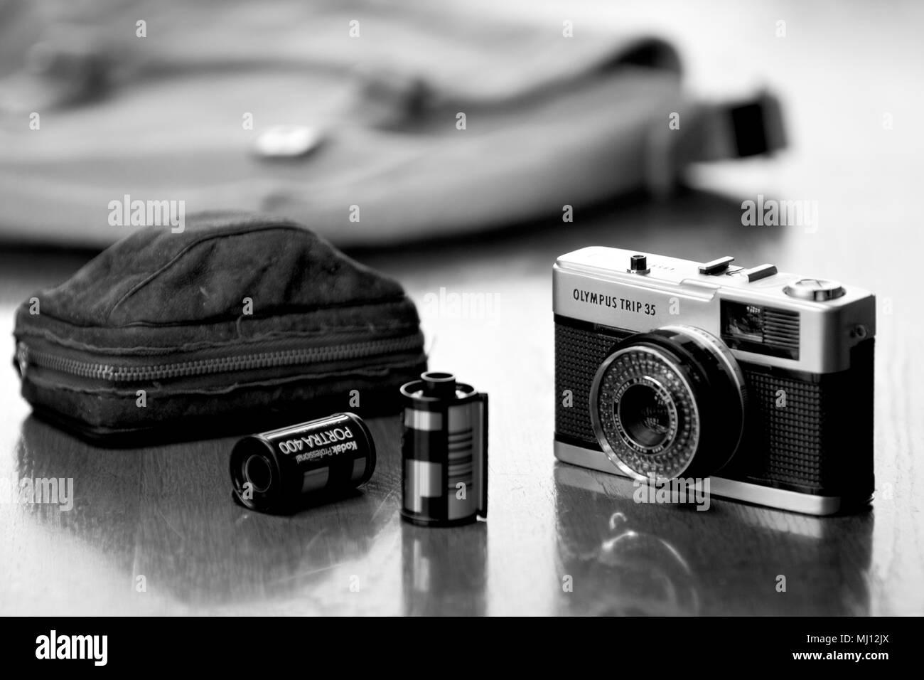 Olympus Trip 35mm compact film camera built between 1968 - 1983. - Stock Image