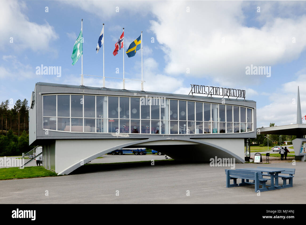 Javre, Sweden - July 14, 2015: Javre tourist station was designed by architect Gunnar Lehtipalo in modernist style, was built at road E4 to serve a ne Stock Photo