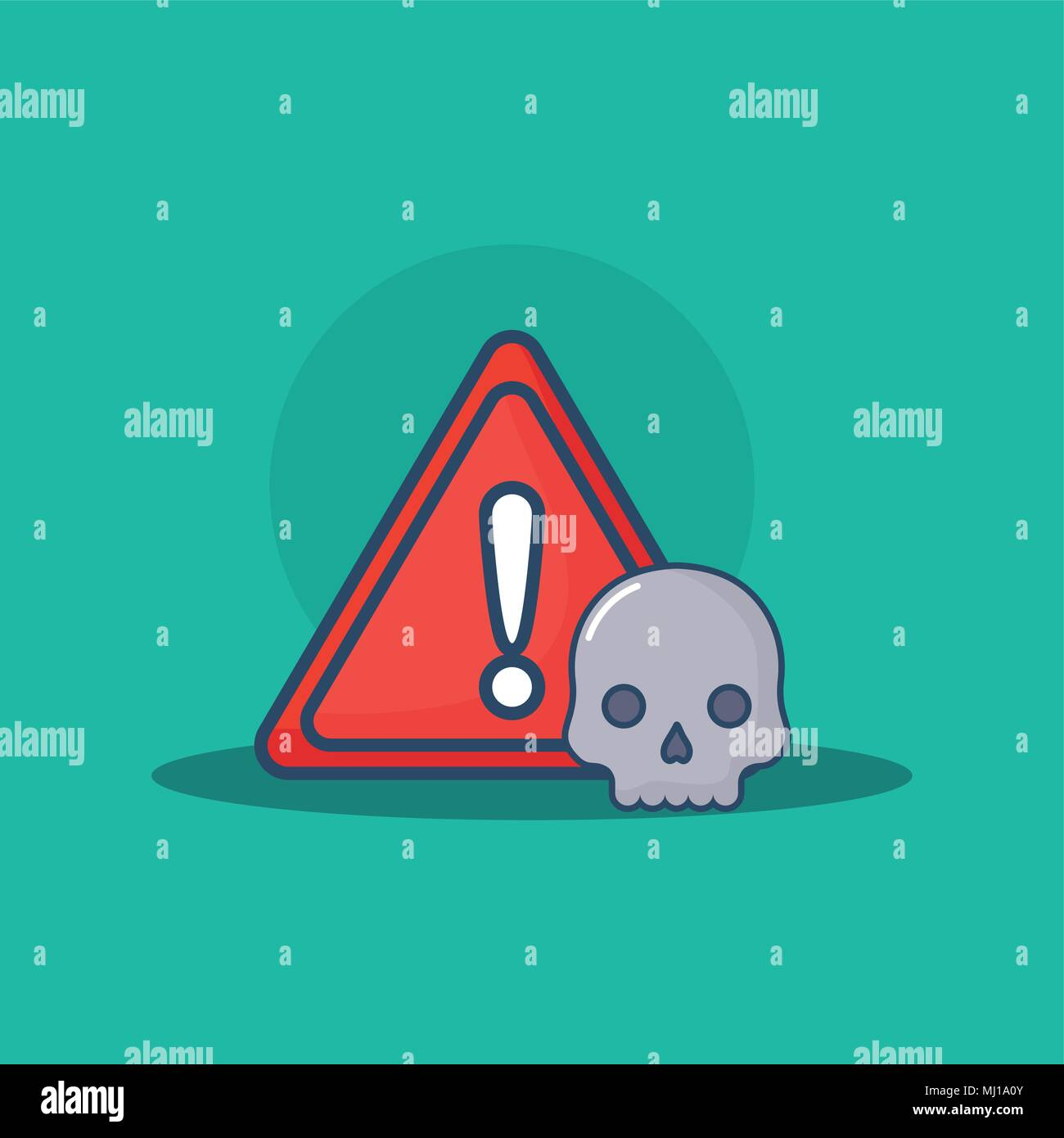 warning sign with skull over turquoise background, colorful design. vector illustration - Stock Image
