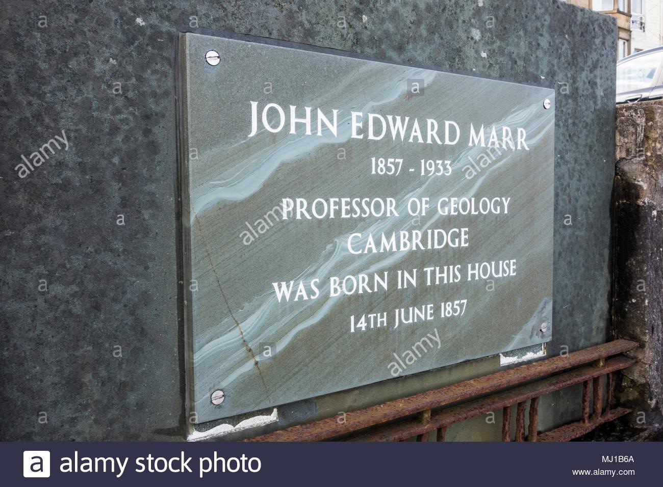 Plaque on Morecambe Promenade commemorating John Edward Marr, Professor of Geology at Cambridge - Stock Image