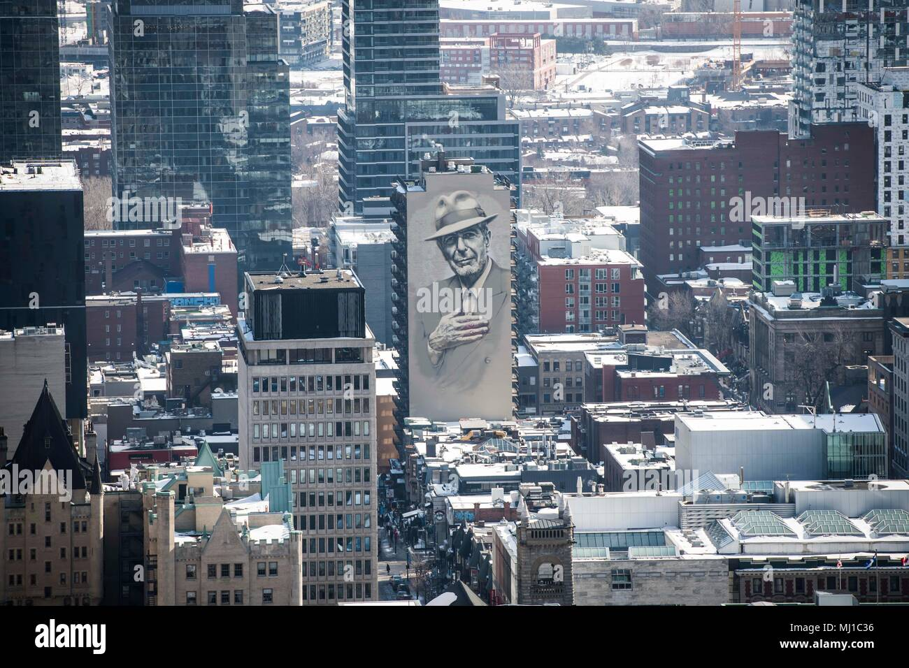 View From The Rooftops Of Montreal Of A Leonard Cohen Mural Painted