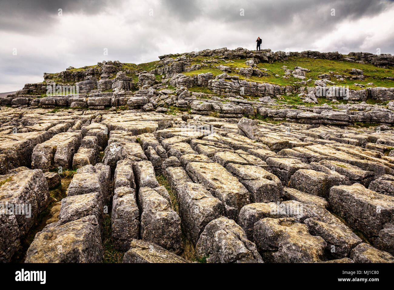 Limestone karst pavement at Malham Cove, Yorkshire Dales, England. - Stock Image