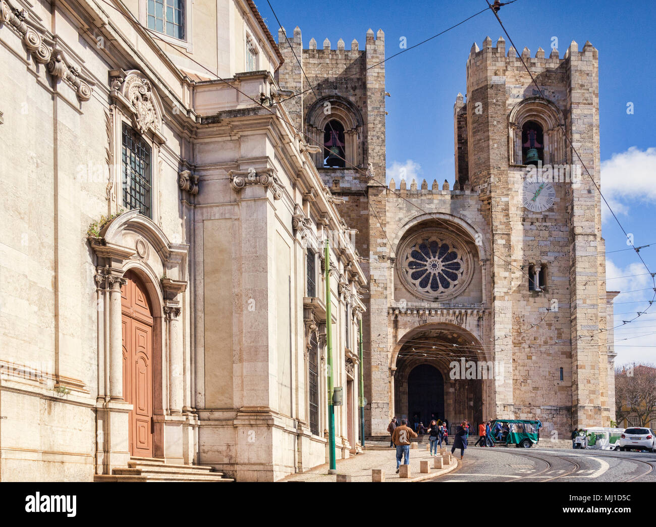 1 March 2018: Lisbon Portugal - The Roman Catholic Cathedral, situated in the Alfama District, the Old Town. - Stock Image