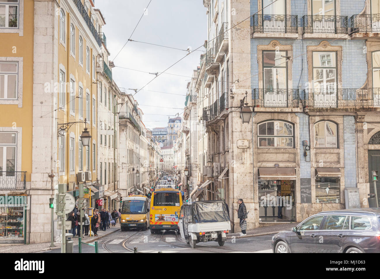 1 March 2018: Lisbon, Portugal - Traffic in a busy street, Rua da Conceicao, in the central city. - Stock Image