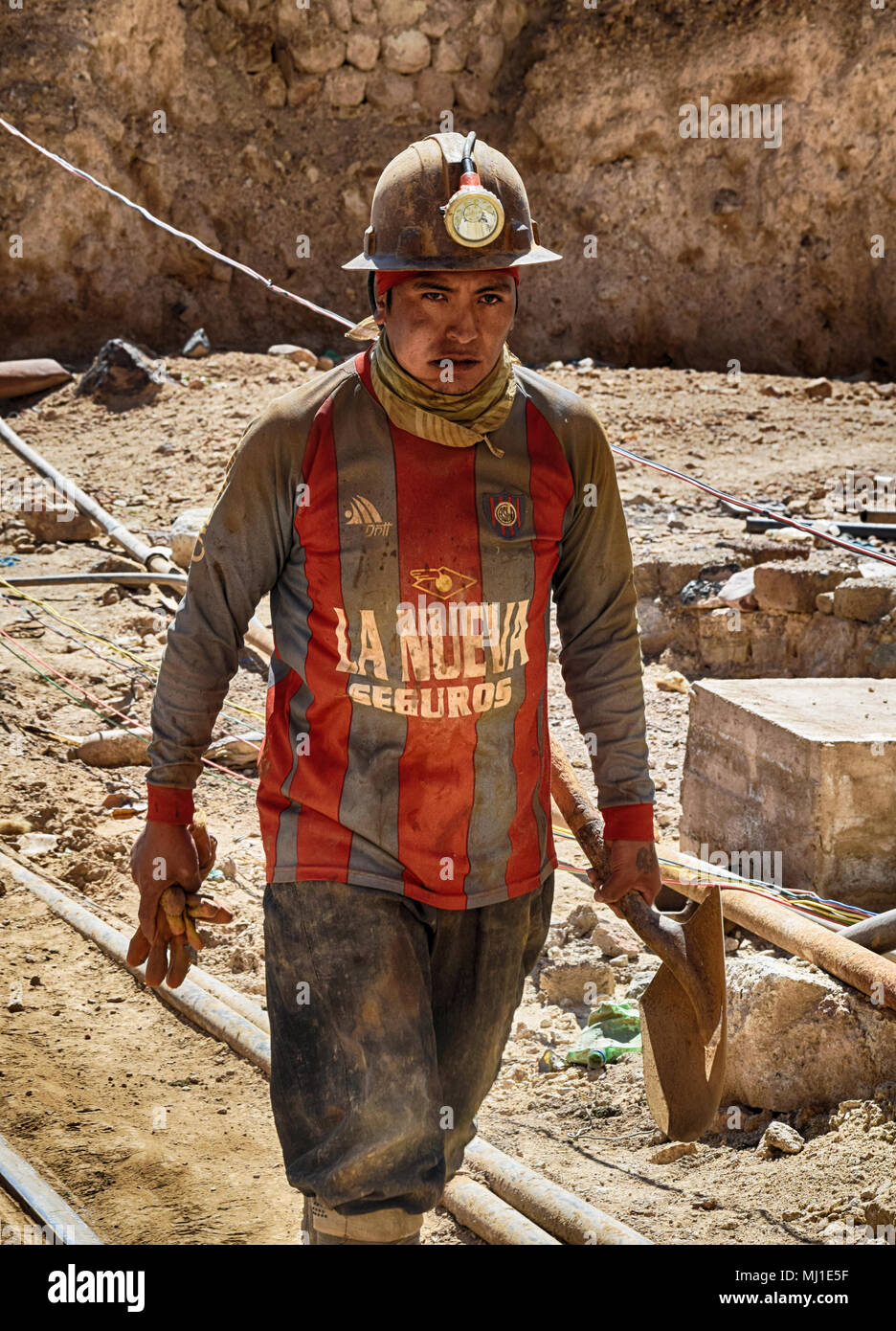 Miner at the mines of Potosi (Bolivia) - Stock Image