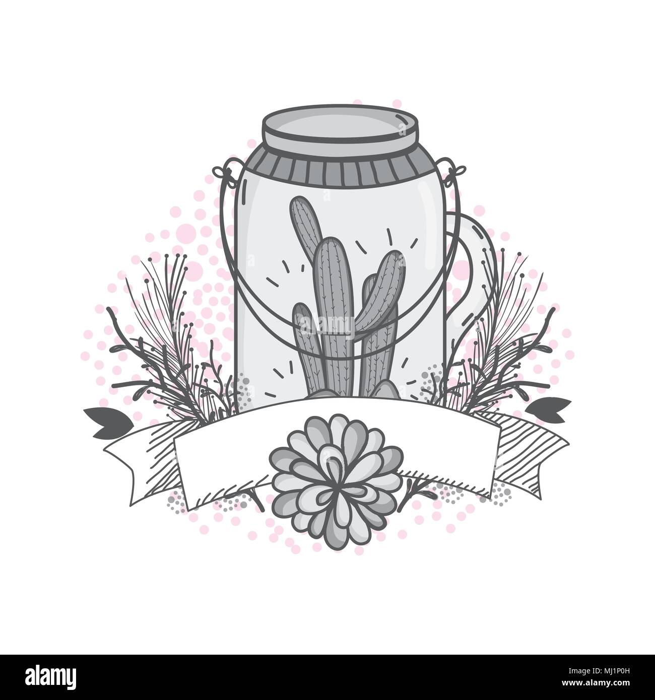 Flowers in mason jar drawing design Stock Vector