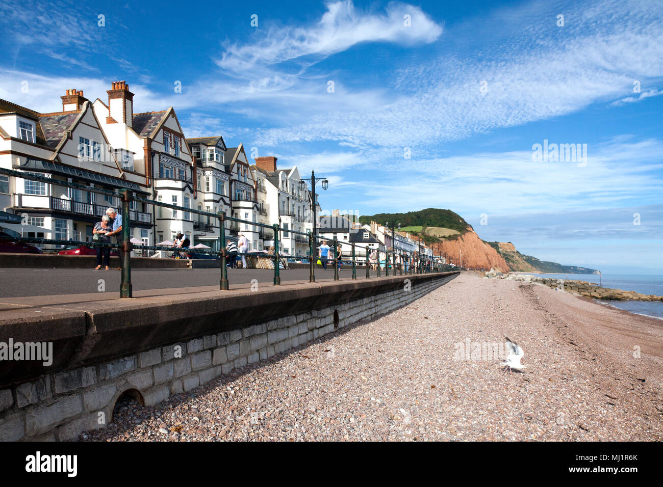 Hotels and Esplanade at Beachfront, Sidmouth, East Devon, England - Stock Image