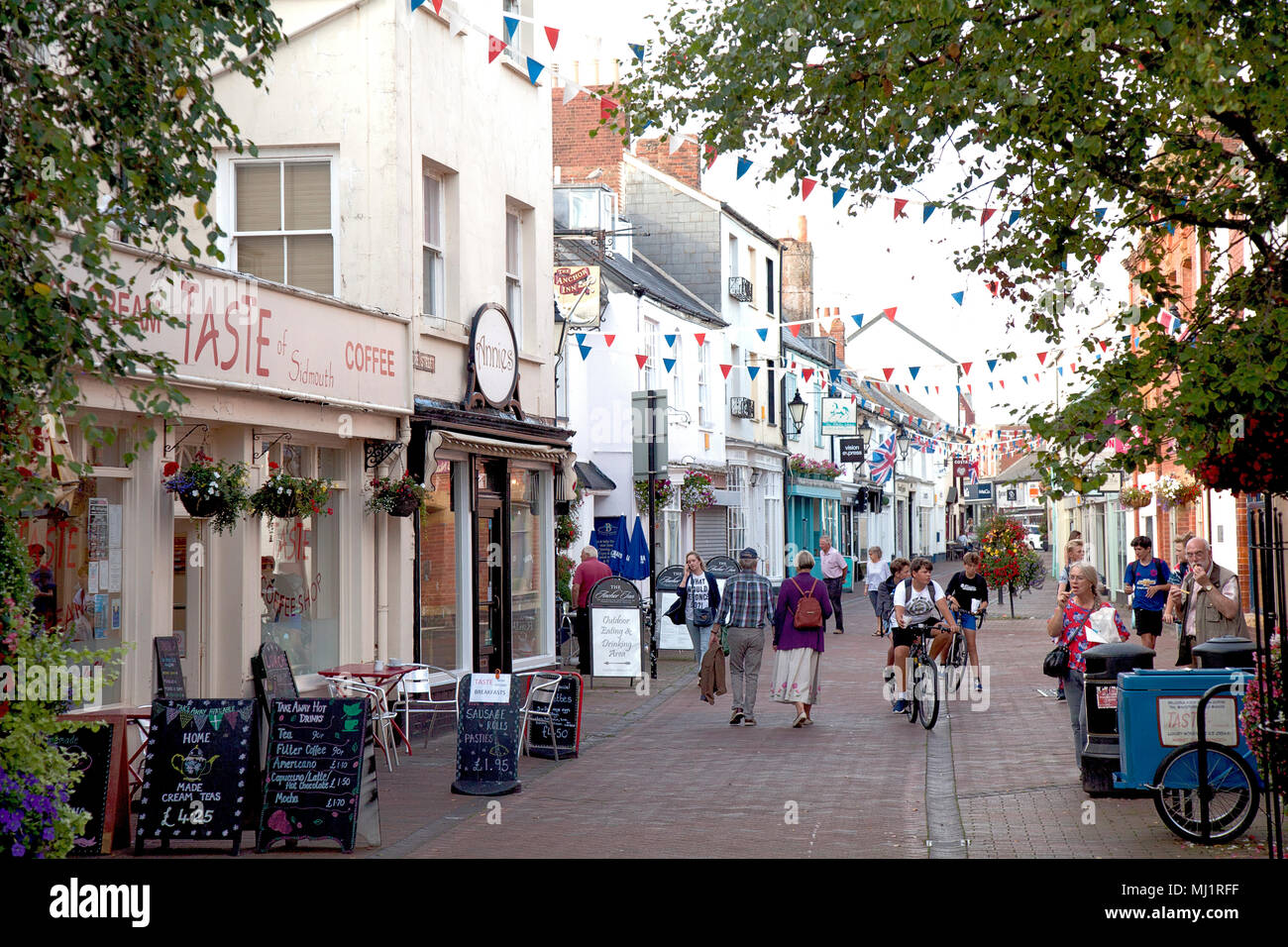 Old Fore Shopping Street (Pedestrian zone), Sidmouth, East Devon, England - Stock Image