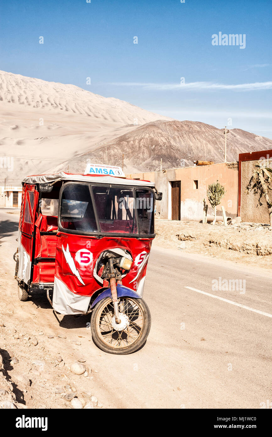 Moto taxi parked on the street. Acari, Department of - Stock Image