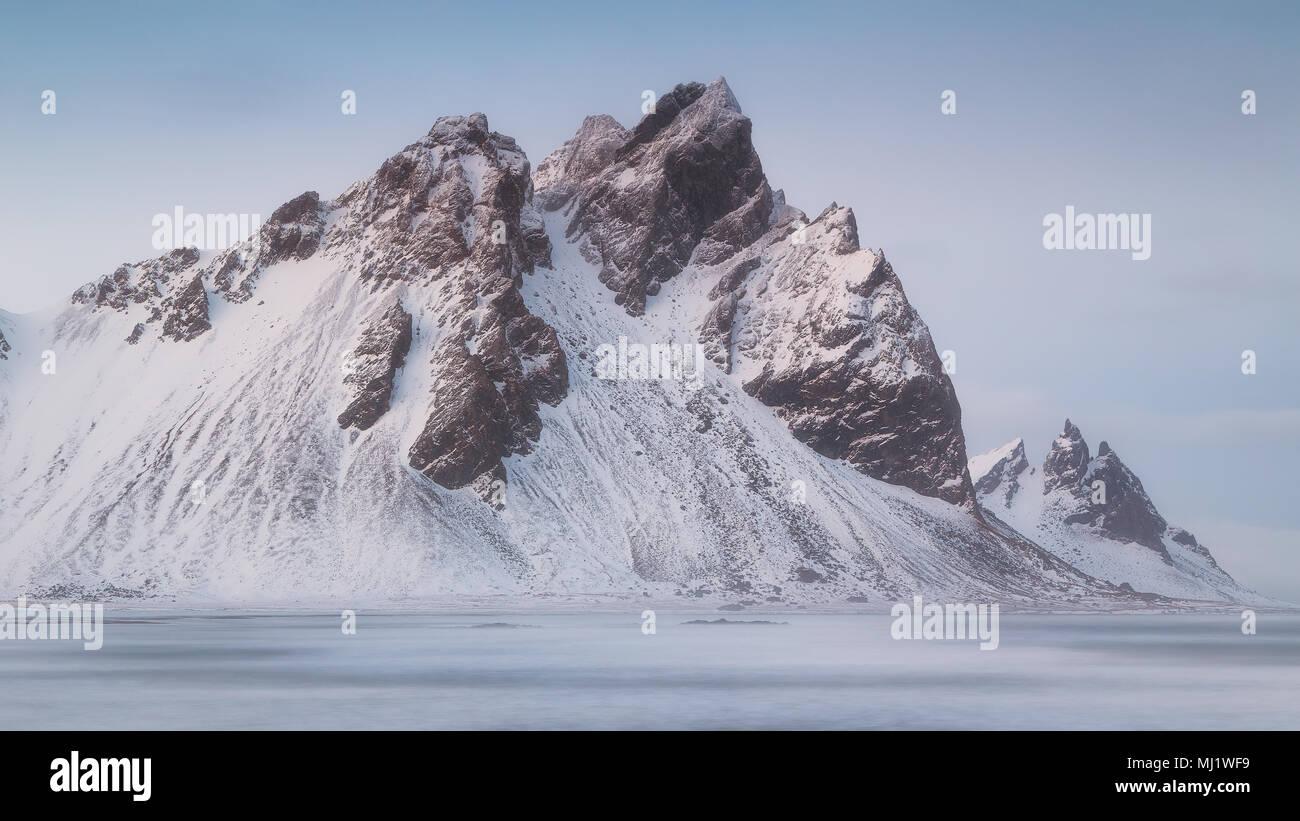 Vestrahorn and  Brunnhorn mountains from Stokksnes in Iceland - Stock Image