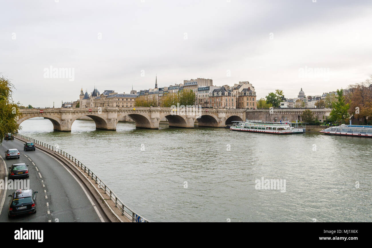 Bridge Pont Neuf across the Seine in Paris, France - Stock Image