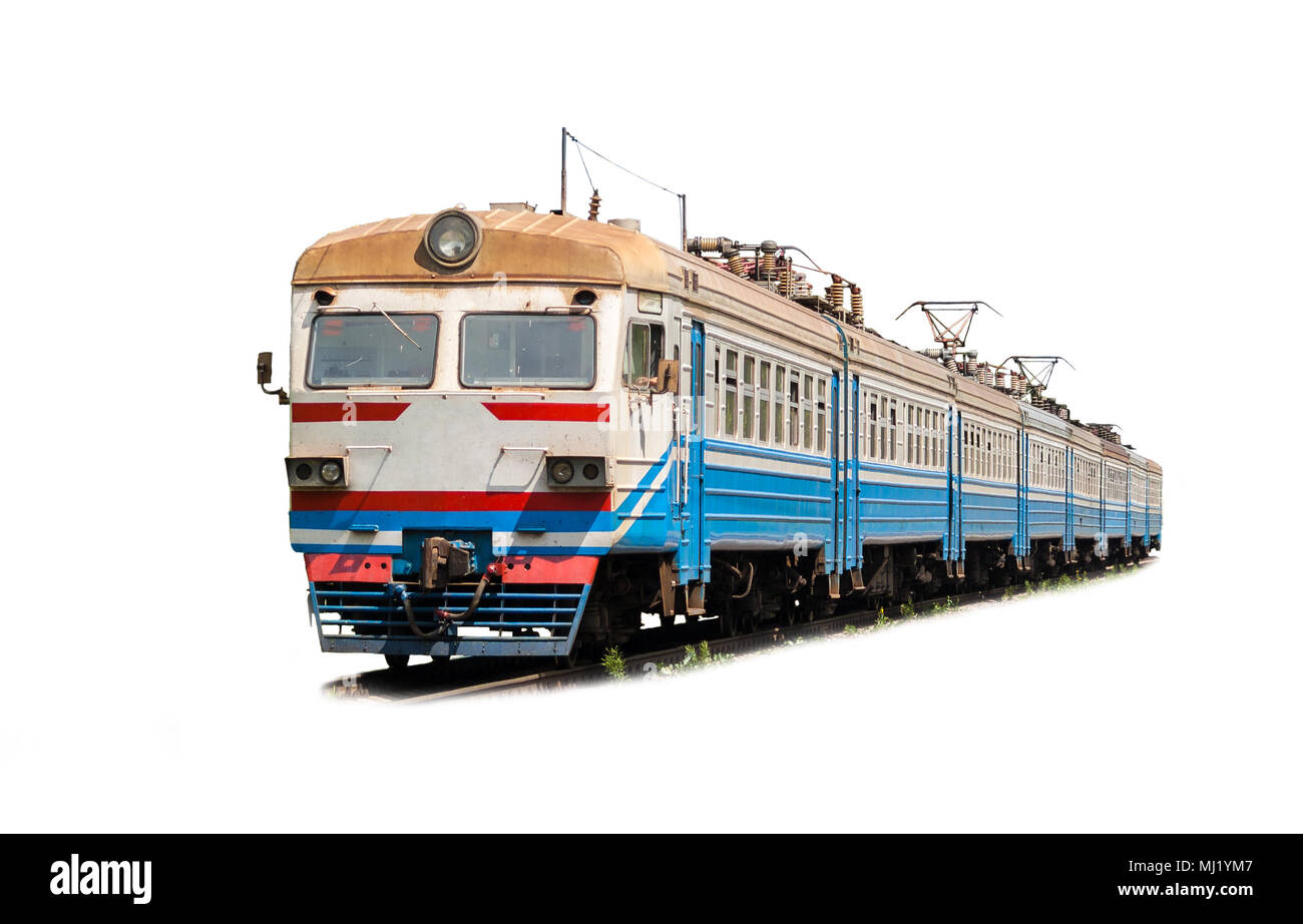 Suburban electric train on a white background Stock Photo