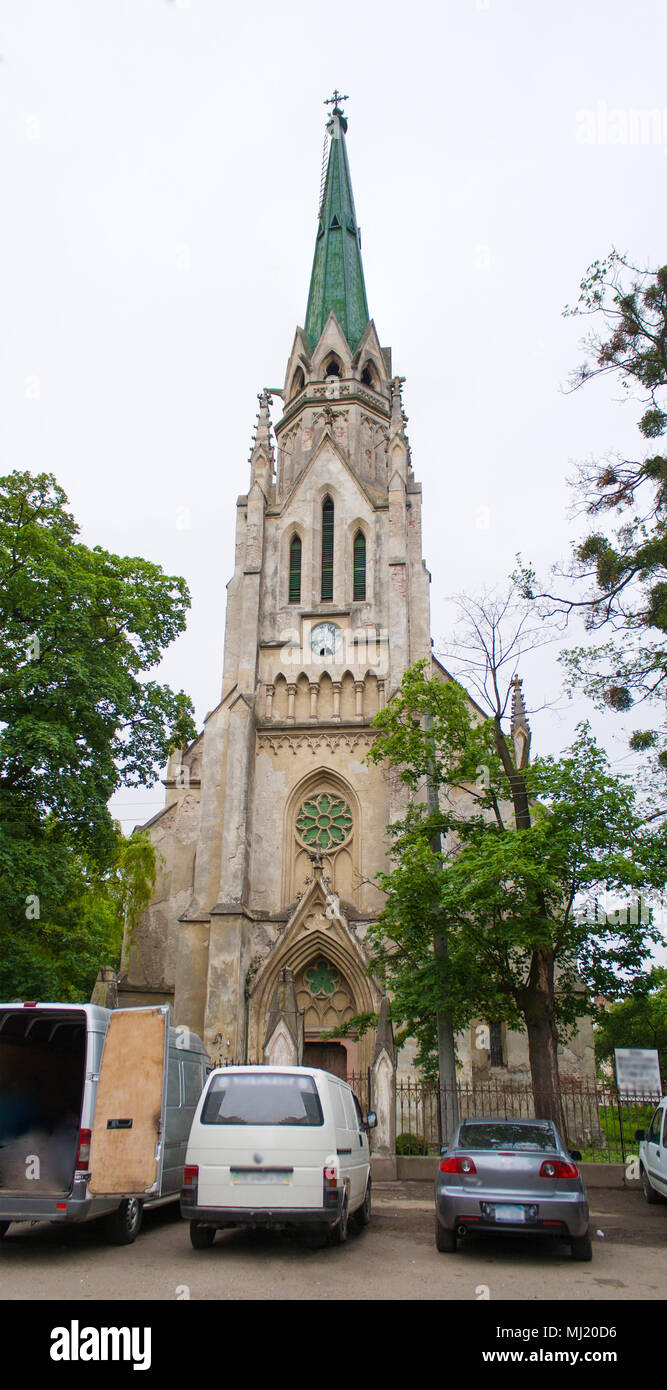 Church of Jesuits in Chernivtsi, Ukraine. Built 1894 in Gothic R - Stock Image