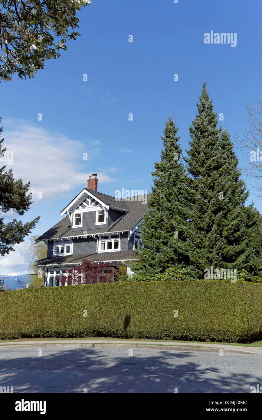 Restored Edwardian era house in the upscale neighbourhood of Shaughnessy, Vancouver, BC, Canada - Stock Image