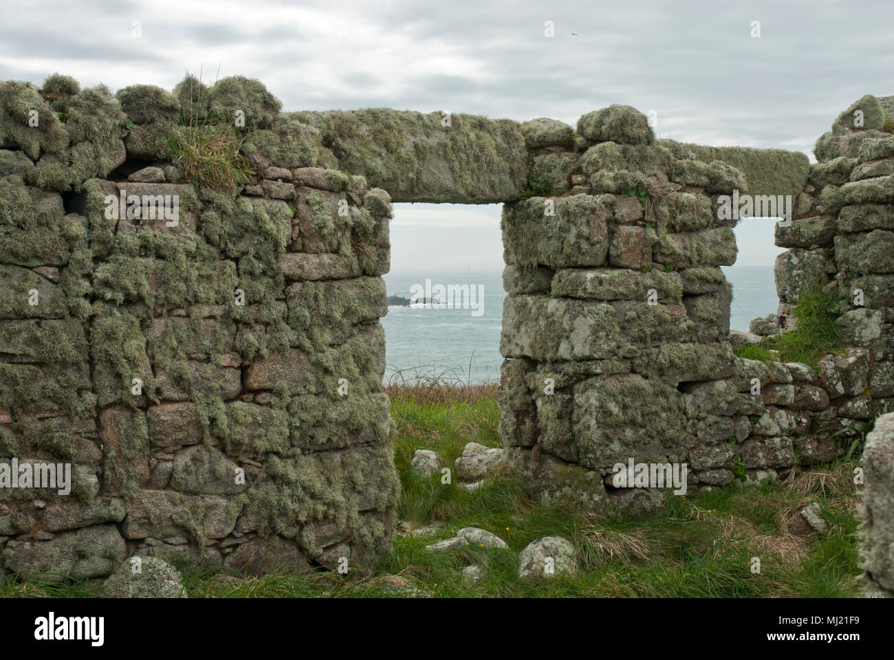 Remnants of a house covered in lichen on the now uninhabited Island of Samson, the sea can be seen through the door and window. isles of Scilly. - Stock Image