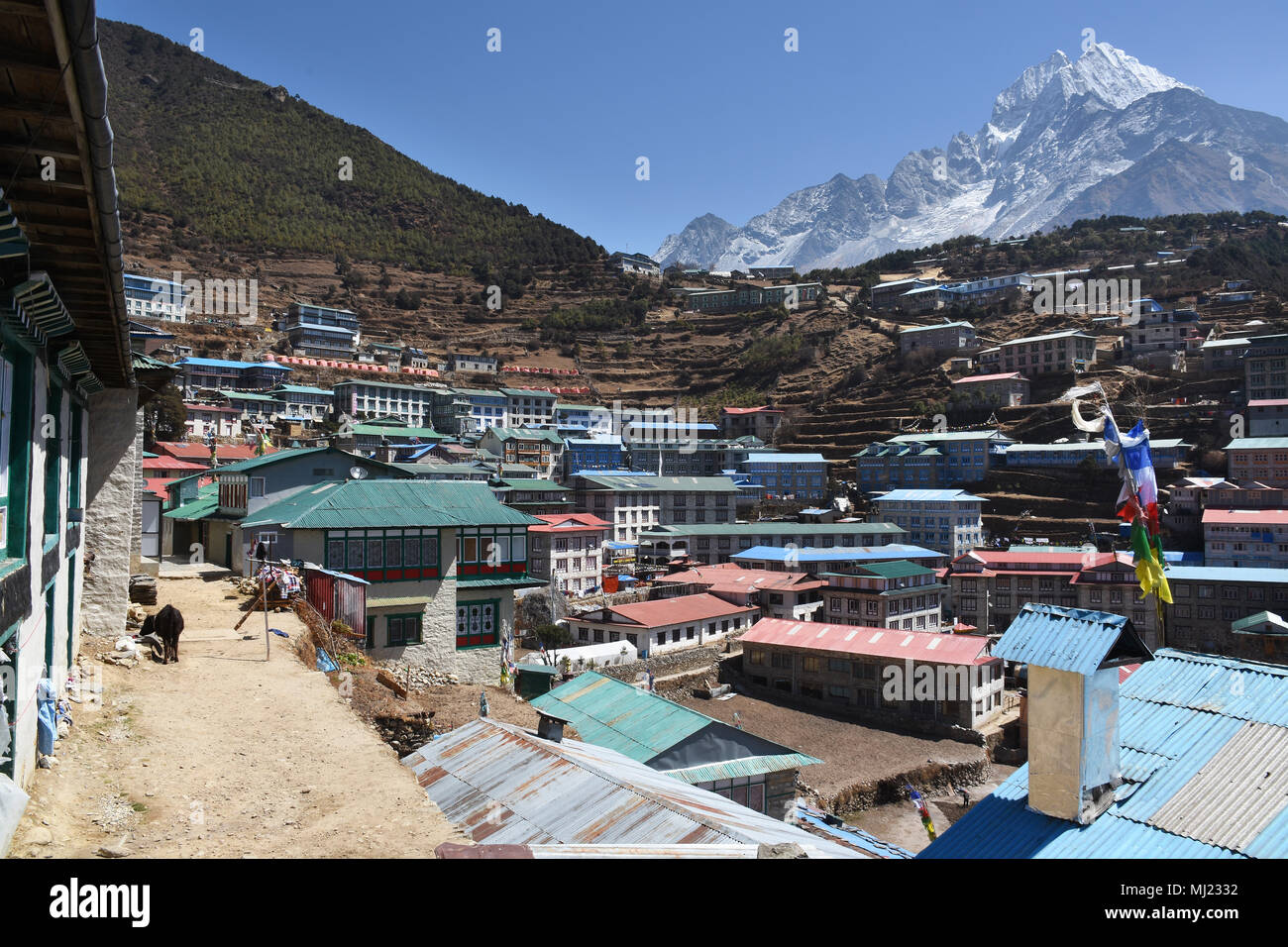 View of Thamserku from Namche Bazaar village, Nepal - Stock Image