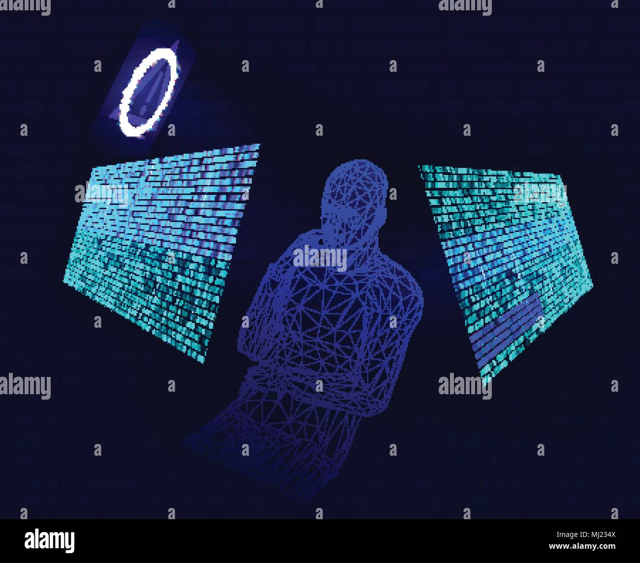 Corrupted binary code. Modern vector illustration about computer - Stock Image