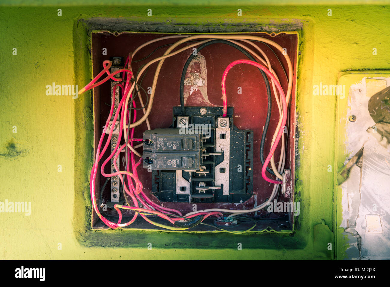 Breaker Box Stock Photos Images Alamy The Wires From Old Switch Depending On Type Of Open Beaker Image