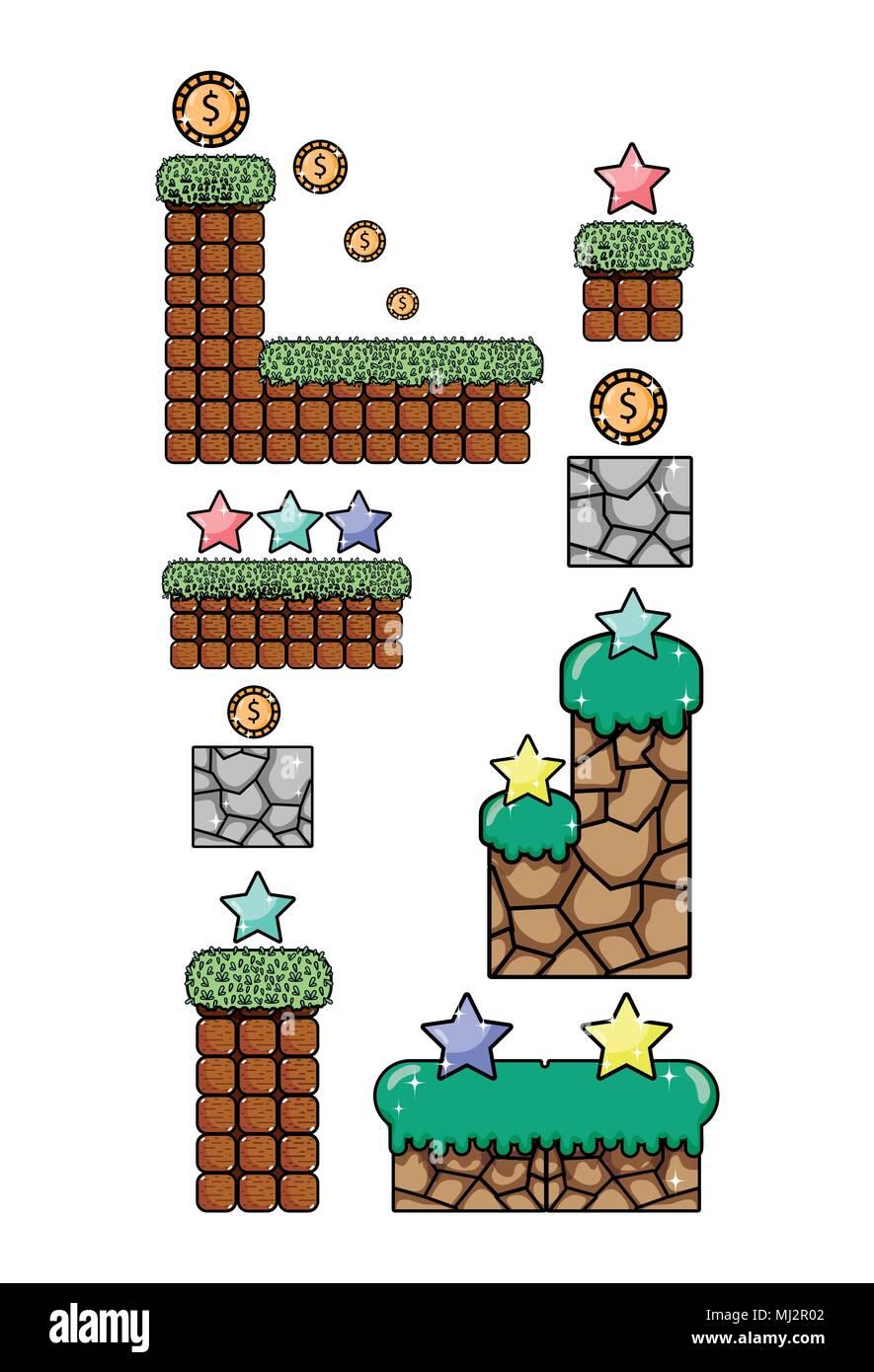 Set of retro videogames items - Stock Image