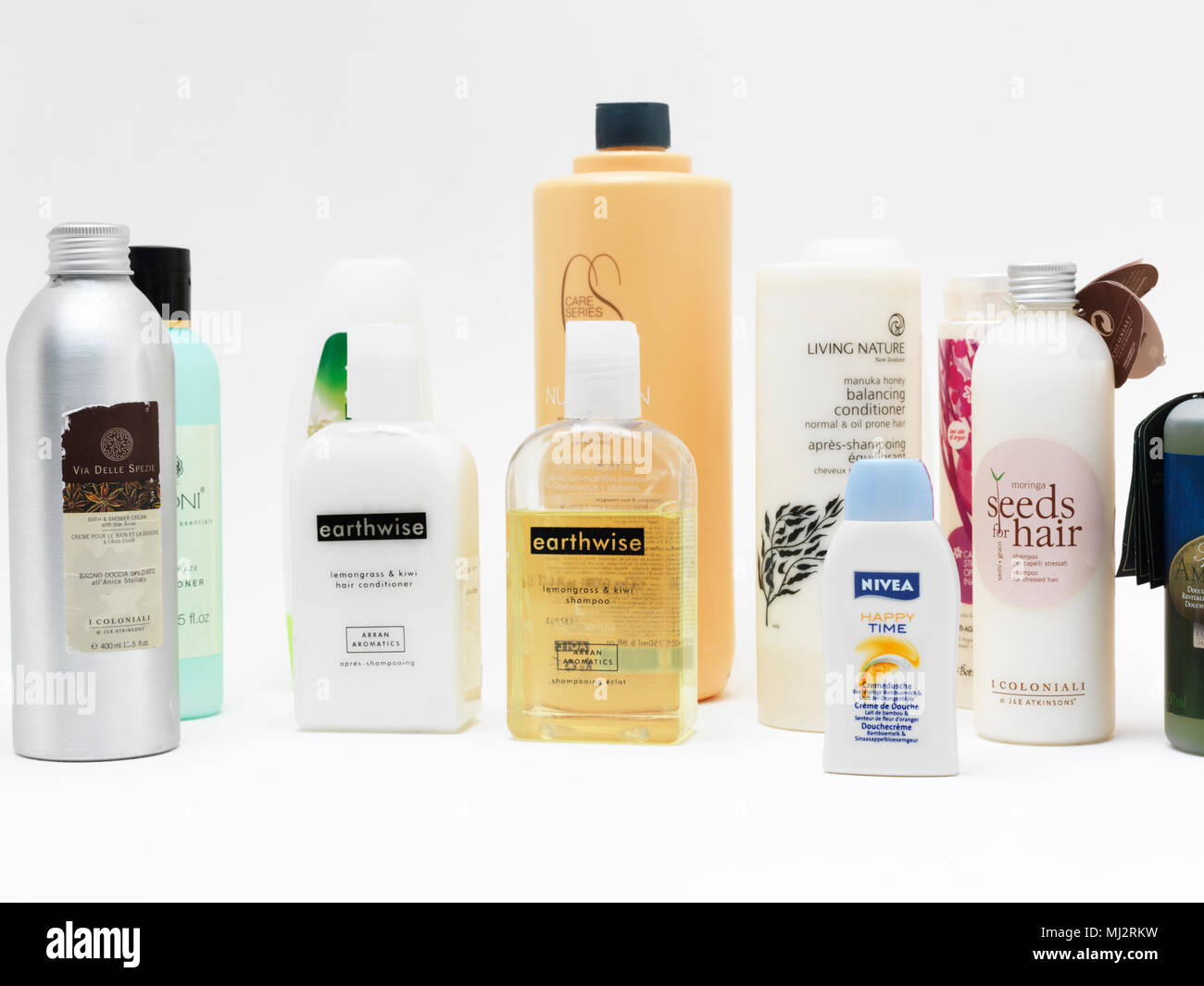 Collection of Shampoos, Conditioners and Shower Gels - Stock Image
