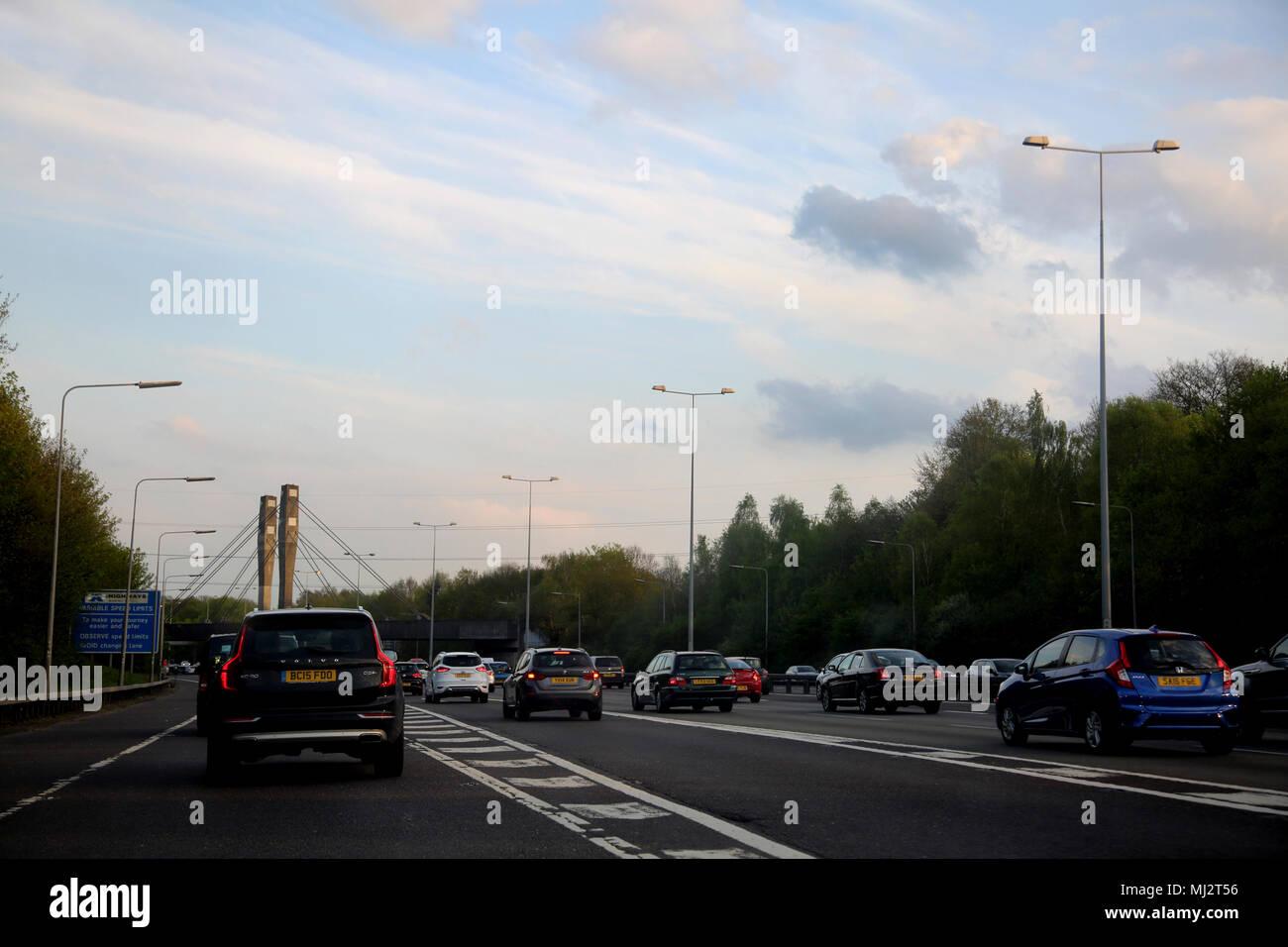 Traffic On The Motorway M25 England - Stock Image