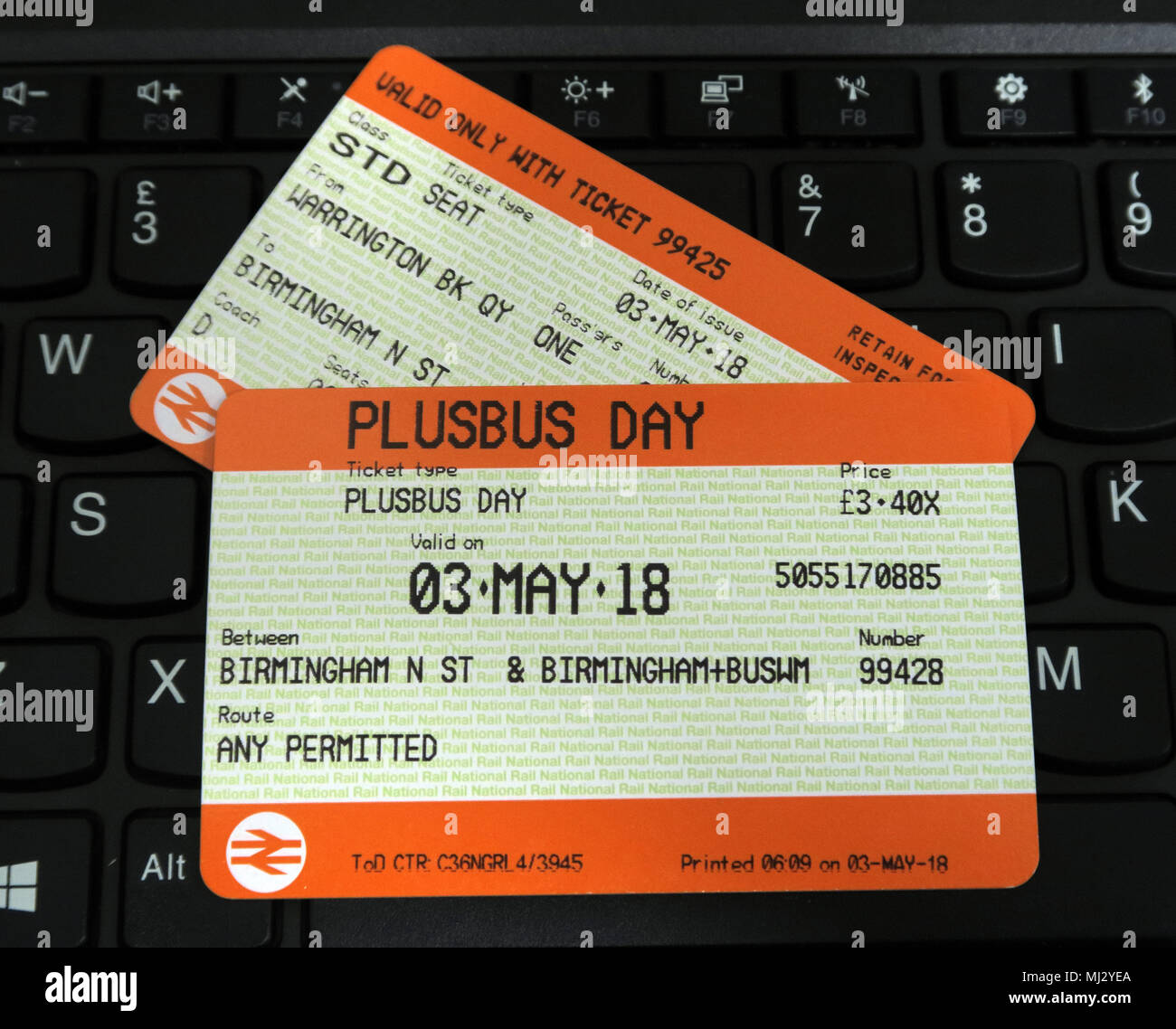 Plusbus rail ticket bus travel for Birmingham on WM travel, UK - Stock Image