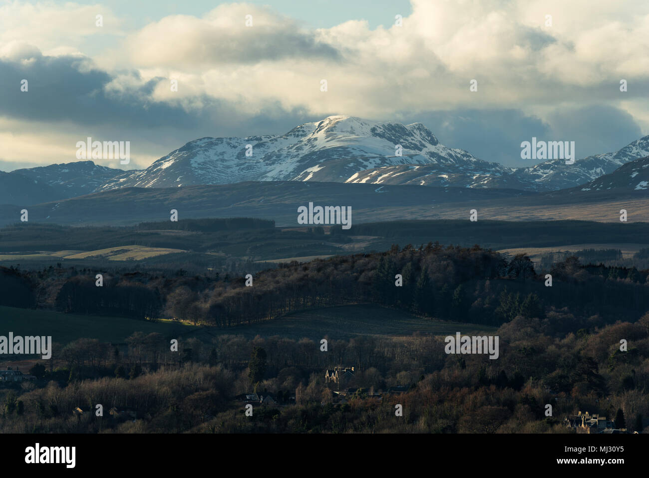 The summit of Uamh Bheag in evening sunshine north of Stirling,  Scotland,  UK. Stock Photo