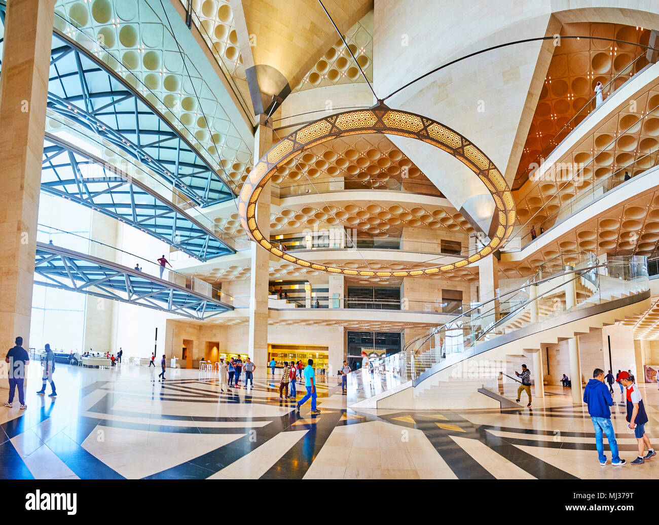 DOHA, QATAR   FEBRUARY 13, 2018: Panorama Of Hall Of Islamic Art Museum    The Perfect Example Of Modern Architecture And Interior Design In Qatar, On