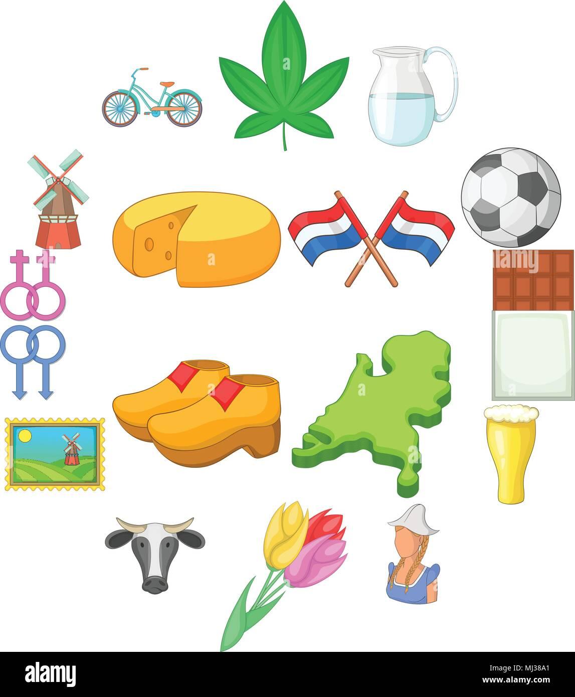 Netherland travel icons set, cartoon style Stock Vector
