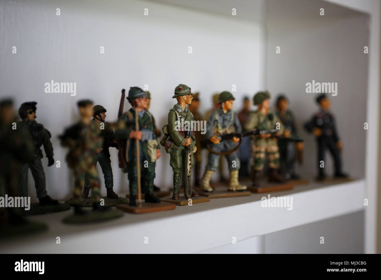A selection of toy model soldiers pictured on a shelf in Portsmouth