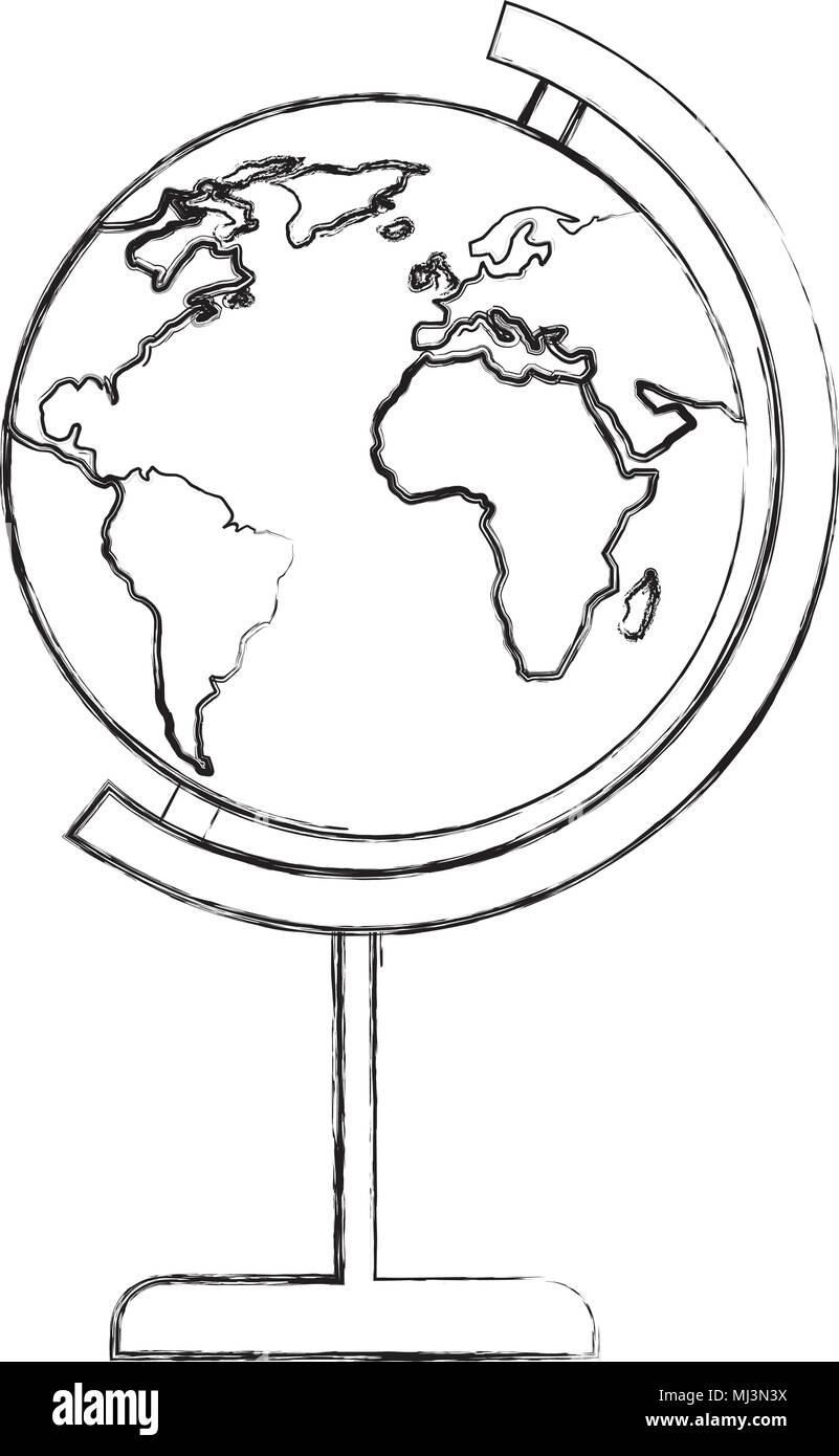 School globe world map image vector illustration sketch stock vector school globe world map image vector illustration sketch gumiabroncs