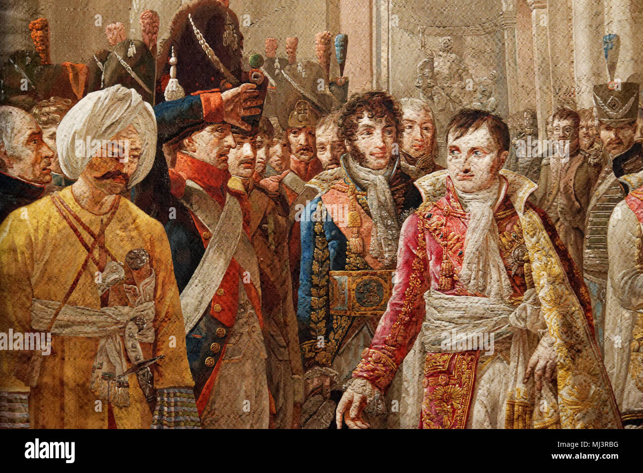 Detail of a high warp tapestry showing Napoleon and his brother in law Murat receiving army delegates after his coronation - Stock Image