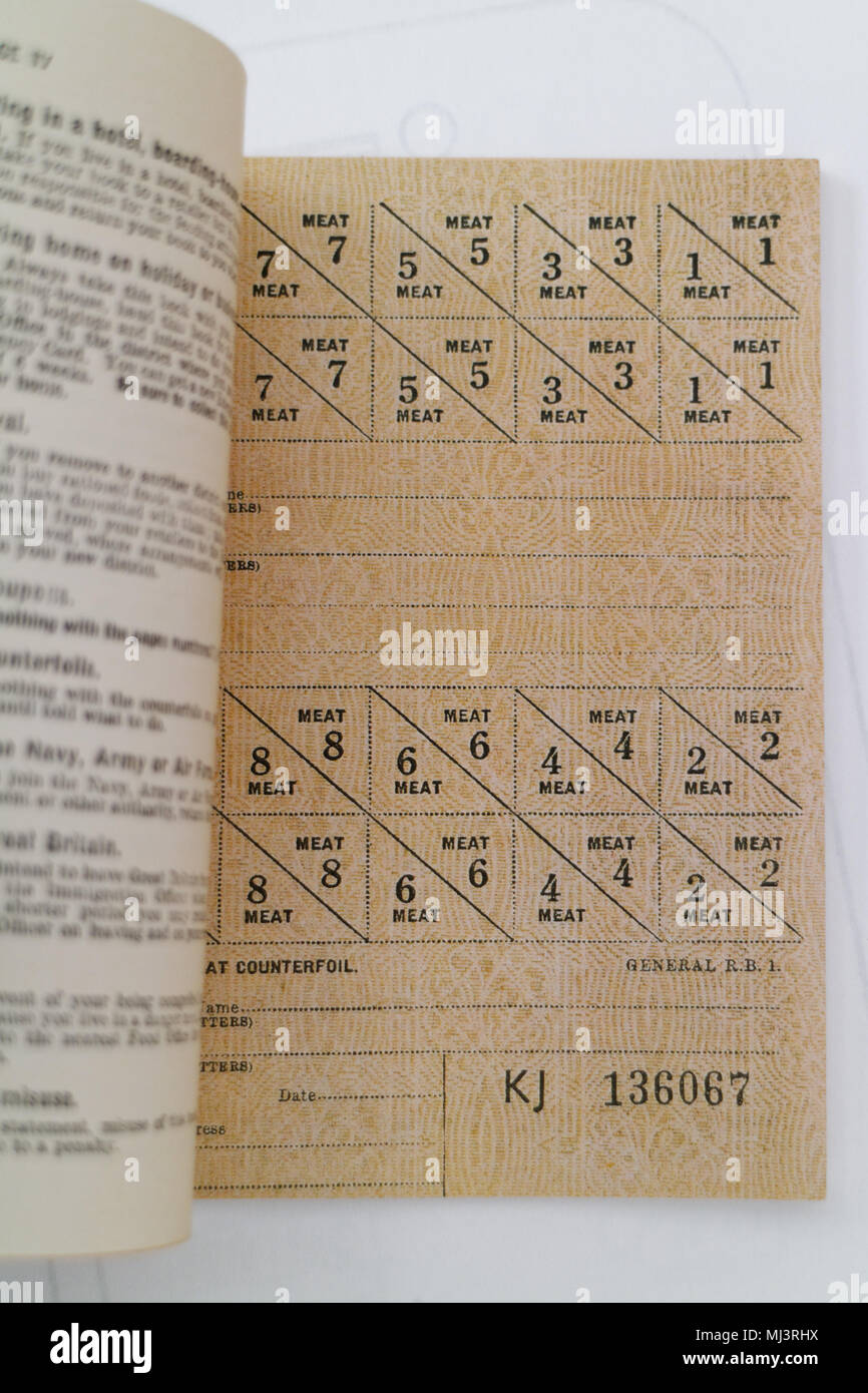 Details of a reproduction british second world war ration book - Stock Image