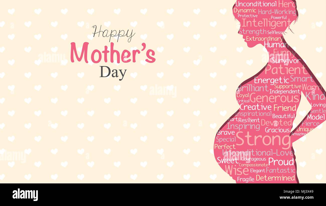 Happy mothers day greeting card pink silhouette of pregnant woman happy mothers day greeting card pink silhouette of pregnant woman with a cloud of words inside on a yellow background with hearts with copy space m4hsunfo