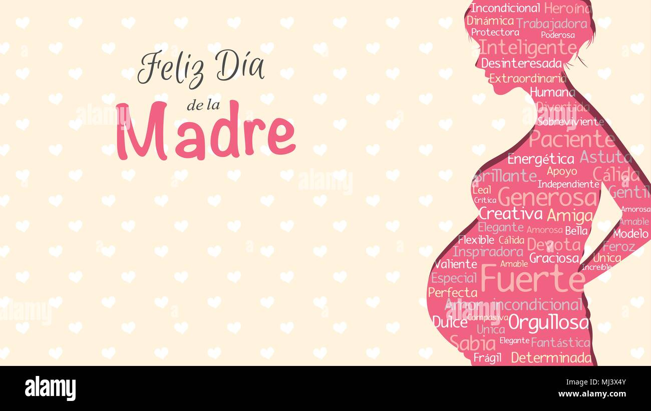 Feliz dia de la madre happy mothers day in spanish language feliz dia de la madre happy mothers day in spanish language greeting card pink silhouette of pregnant woman with a cloud of words inside m4hsunfo