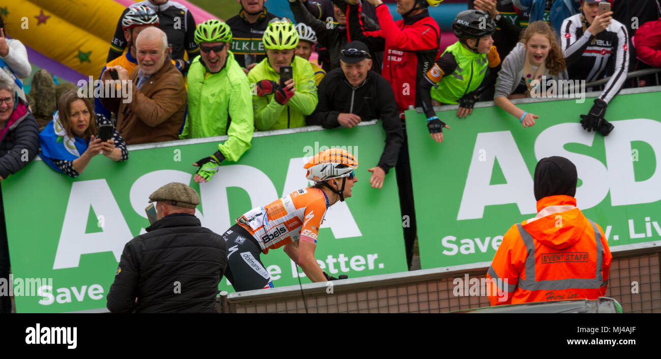 West Yorkshire, UK. 4th May 2018.  Supporters out in force on the final summit of today's women's race.  Here shouting on American Megan Guarnier who moments later won Stage Two of the Tour de Yorkshire and the overall women's Tour de Yorkshire title. All that on her 33rd birthday. Rebecca Cole/Alamy Live News - Stock Image