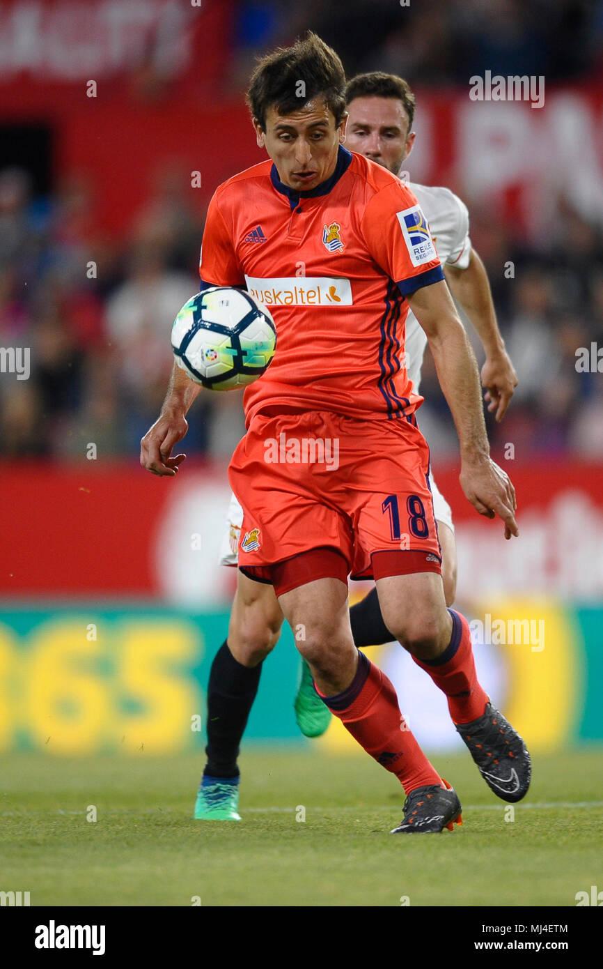 Oyarzabal during the match between Sevilla FC against Real Sociedad, weekl 36 of La Liga 2017/18 in Sanchez Pizjuan stadium, Sevilla, SPAIN - 04th May of 2018. - Stock Image
