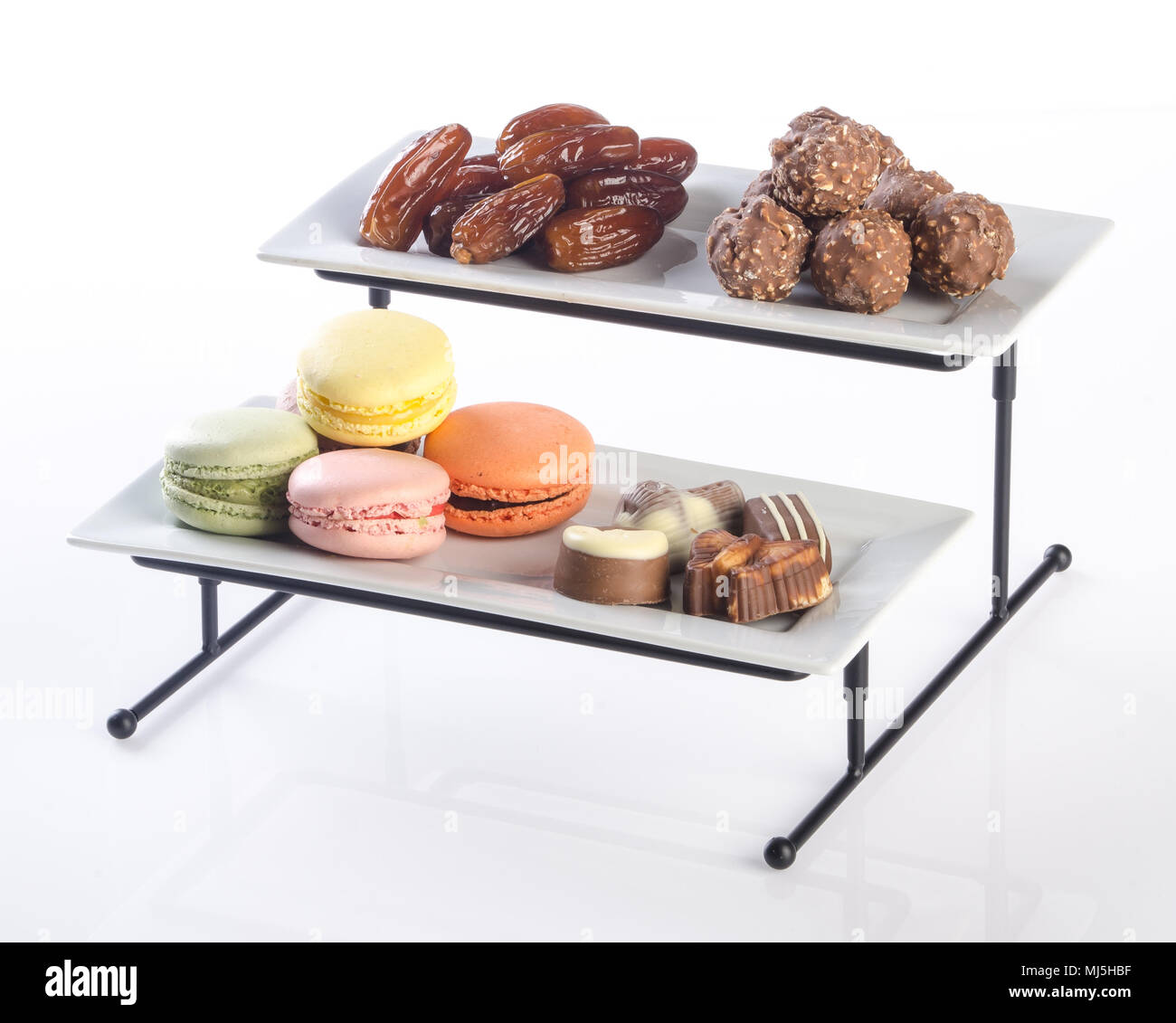 Tray Three Tier Serving Tray On A Background Stock Photo Alamy