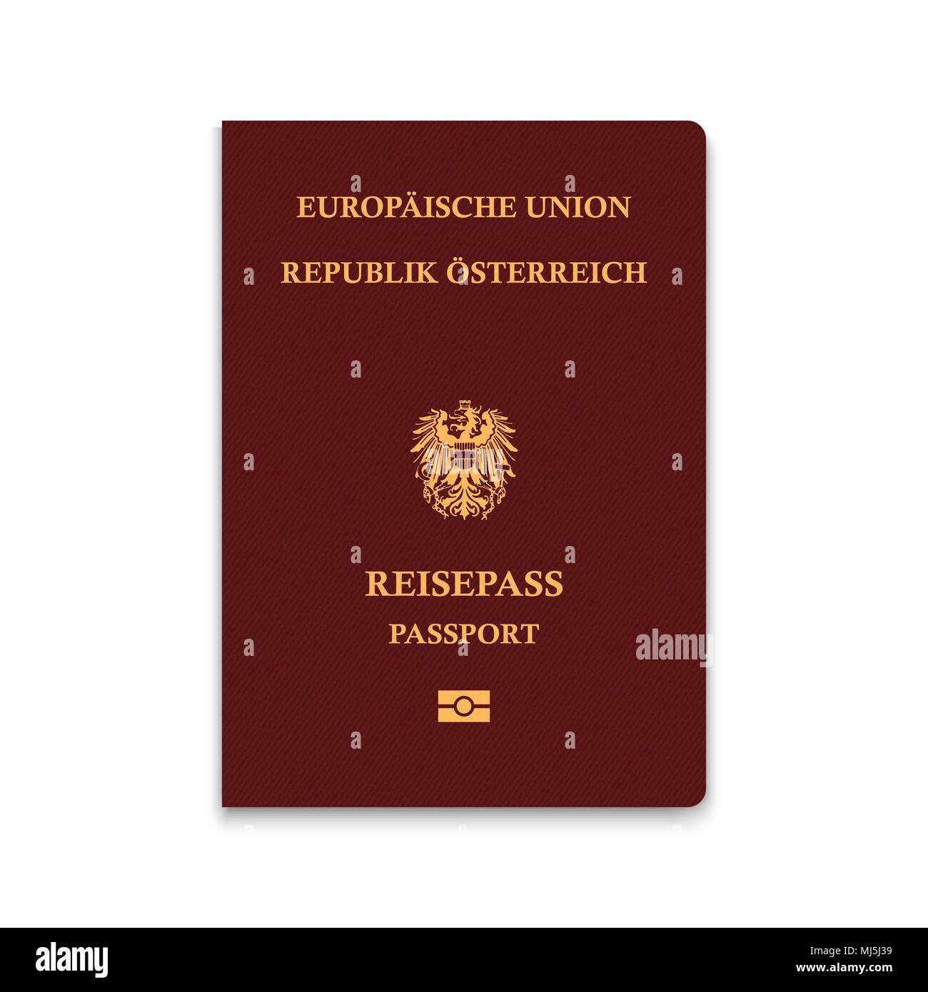 Passport of Austria. Vector illustration - Stock Image