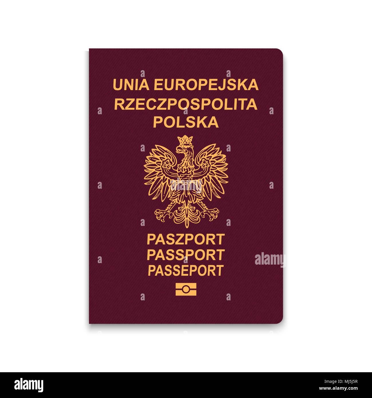 Passport of Poland. Vector illustration - Stock Image