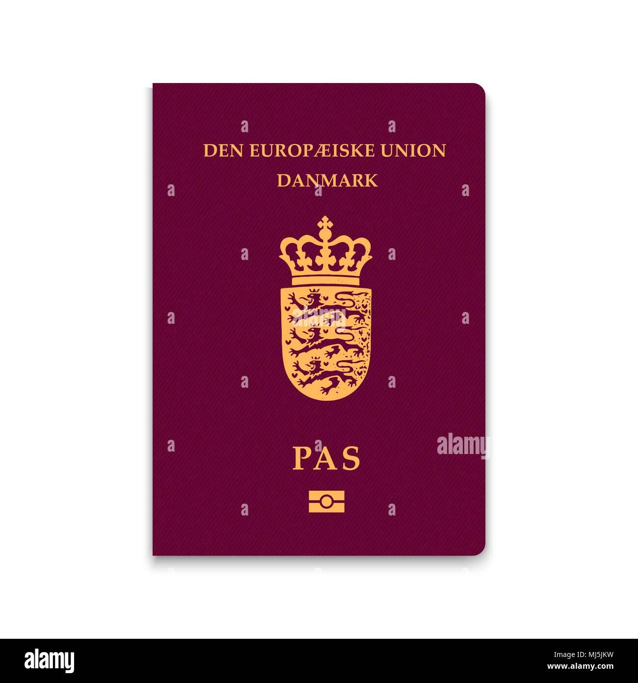 Passport of Denmark. Vector illustration - Stock Image