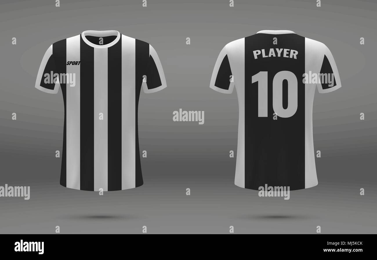 Realistic Soccer Jersey T Shirt Of Juventus Uniform Template For Football