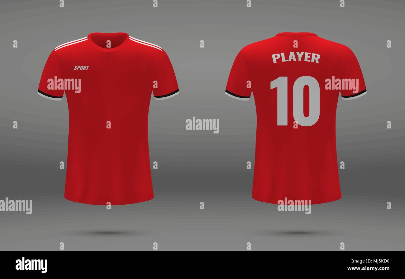 b4fc5125b Realistic soccer jersey, t-shirt of Manchester United, uniform template for  football